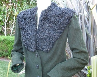 Gorgeous 1940s soft lush persian lamb and green wool jacket S M
