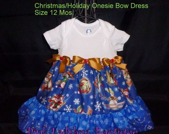 Blue Snowman Christmas Holiday Onesie Bow Dress with Matching Hair Bow - Size 12 Mos. is READY TO SHIP