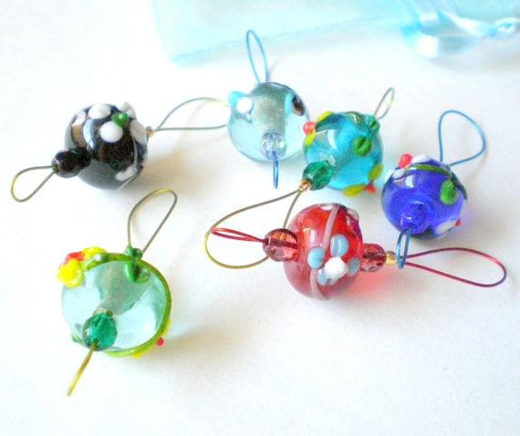 Knitting Stitch Markers - Set of 6 Handmade Knitting Bead Markers - Mix Flower Lampwork Beads