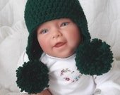 Baby Double Pom Pom Earflap Hat...Evergreen..0 to 3 Month...Boy or Girl..Fall and Winter Hat...PHOTOGRAPHERS Prop...Ready to Ship