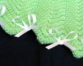 Green and White Zigzag Afghan