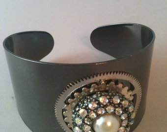 Gunmetal Cuff Bracelet with Gears and Rhinestones