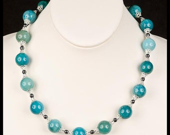 Crackle Agate and Hematite Bead Statement Necklace