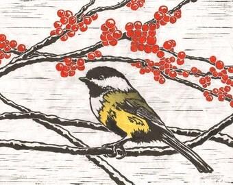 Chickadee - Original Linocut Print