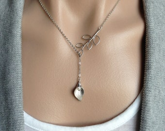 Calla Lily Lariat Necklace -  gift, Christmas, wife, mother, wedding, sister, daughter, June, birthday, bridesmaid, romantic, anniversary