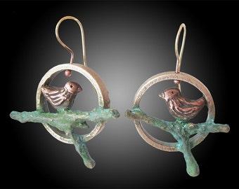 Copper Birdies - earrings