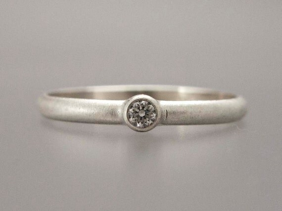 Diamond Ring - 6 Point Diamond Engagement Ring in Sterling Silver