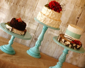 Set of 5 Rustic Tall Pedestal Serving Cake Stands - Any color-