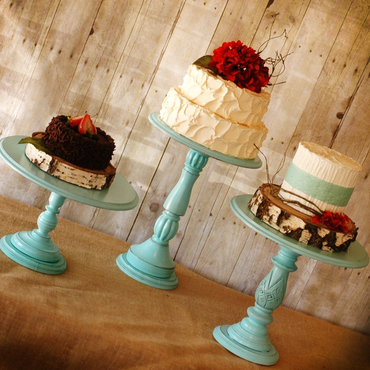 tall cake stand one rustic pedestal serving cake stand any color 7913