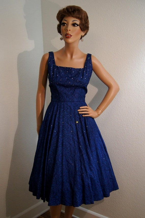 Vintage 1950s Sapphire Blue Lace and Rhinestone Party Dress / 50s Full Skirt Cocktail Dress - S