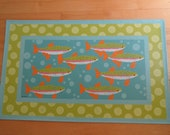 Swimming Trout Floorcloth Rug