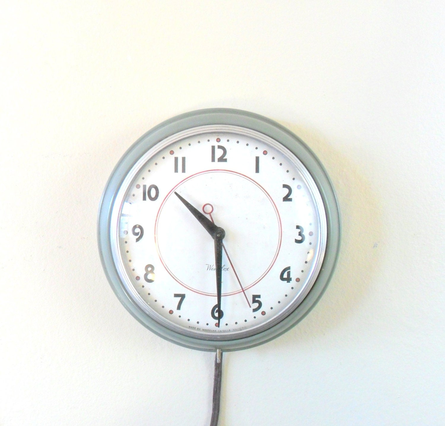 Retro Electric Kitchen Wall Clocks: Vintage 50s Westclox Hanging Electric Wall Clock Midcentury