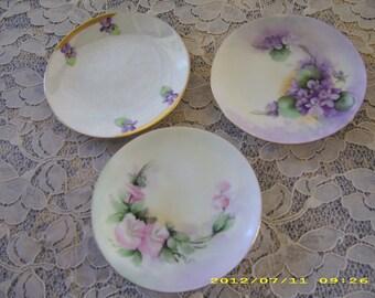 Three (3) Vintage Hand Painted Porcelain Plates