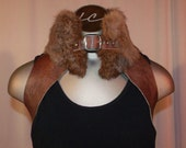 Fur and leather shrug