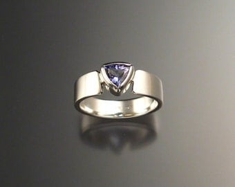 Tanzanite Triangle Ring, Sterling Silver Any Size