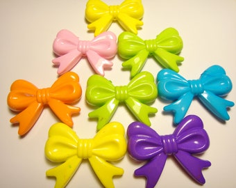 Large colorful Plastic Bow beads (with hole) 45mm 8pcs
