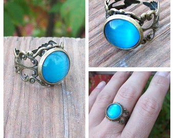 Sale - Turquoise Blue Cats Eye Cabochon Ring with Filigree Lace Adjustable Band, Gypsy Boho
