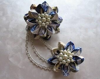 Spring Lotus Kanzashi Flower Hair Clip Bun Drape Set