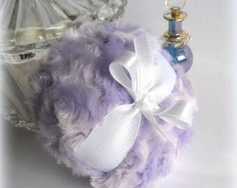 Powder Puff - pastel lilac purple - soft lavender bath pouf - amethyst powderpuff - gift box option