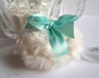Powder Puff  |  La Petite Aqua  | aqua and cream  |  miniature pouf  |  robins egg blue  |  gift box option  |  handmade by Bonny Bubbles