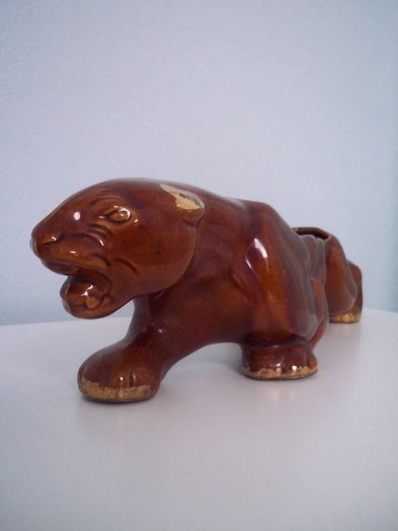 Vintage McCoy brown Panther planter