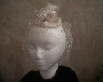 OOAK Ivory sinamay fascinator - Wedding or Bridal fascinator - sinamay loop fascinator -white fascinator