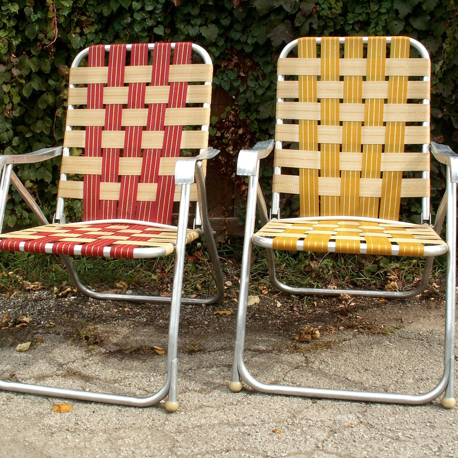 Two High Back Webbed Lawn Chairs
