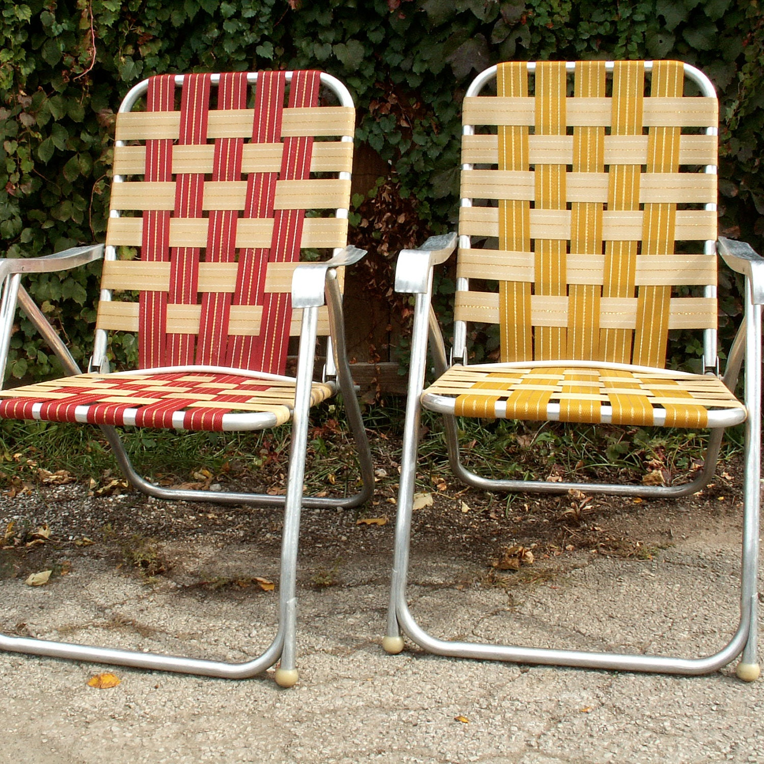 two high back webbed lawn chairs by lookingforyesterday on