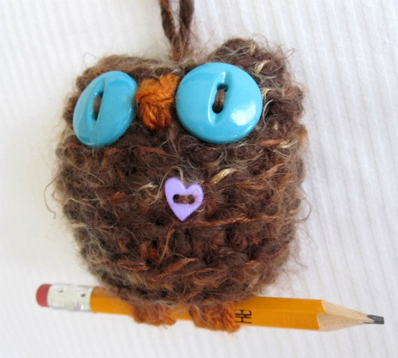 Schooling Hoot- wooly hand knit plush owl ornament