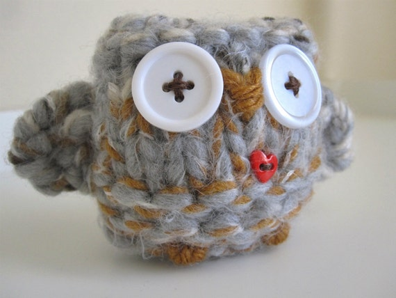 Wool Owl Doll- hand knitted cozy love owl