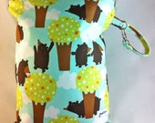 SALE Wet Bag Heat Sealed Edges - Medium - Bears In The Woods Sea - Discontinued Fabric