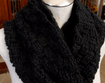 Handmade crochet Infinity Scarf in Charcoal Black (Mobius Twist)