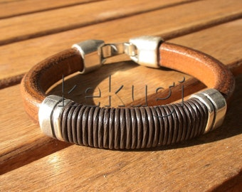 men camel brown and dark brown leather bracelet with sterling silver  plated spacer