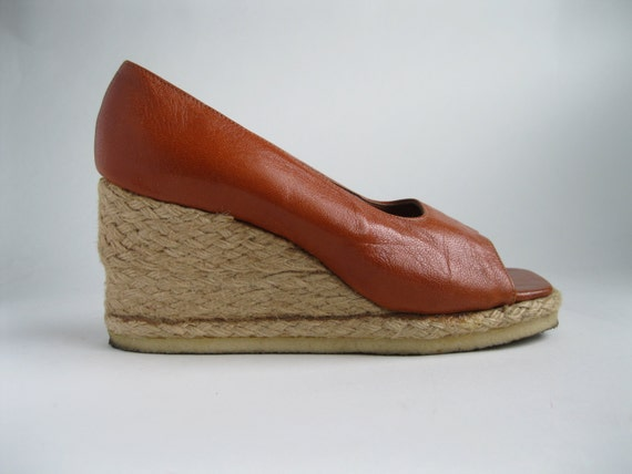 vintage 1970s rust wedge shoes leather nautical by alexsandras