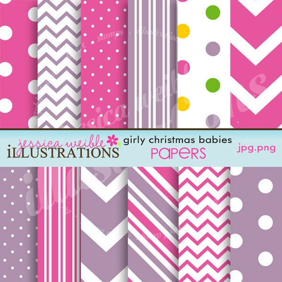 Girly christmas babies cute digital papers for card design for Cute designs for paper
