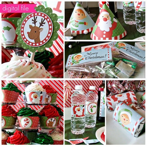 Santas Here Theme - Printable Party Collection - Cupake Toppers - Printable Party Favors - Christmas Party Printables