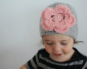 Under the Pink - Grey Hat w/ Pink Flower and Pink Pearl, crochet, handmade for baby, toddler or child