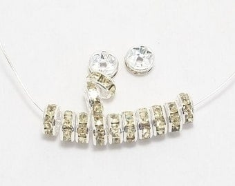 8mm Silver Plated Lemon Rhinestone Rondelles (25) - SELECT