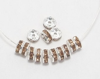 8mm Silver Plated Champagne Rhinestone Rondelles w/Mideast Stones - 25 - SELECT