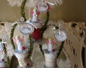 Christmas gift box ornaments cute flocked angels ornaments paper mache gift boxes tags Shabby chic white embellished gift boxes