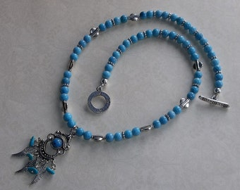 Turquoise & Coral Necklace and Earring Set