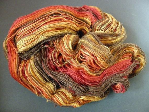 1-ply wool yarn for lace knitting, Artistic yarn, Kauni yarn in rusty colors, measure 8/1, 116 GRAMS
