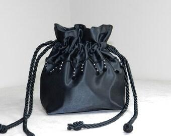 Black Evening Purse, Black Evening Bag, Small Black Purse, Satin, Drawstring