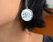 Enamel and sterling silver abstract drawing dangle earrings