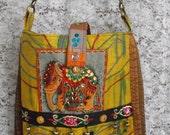 Upcycled, recycled elephant messenger bag,leather adjustable strap, OOAK, beaded, sequined, quilted