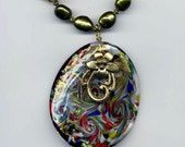 Venetian Multi Colors Pendant Necklace Murano