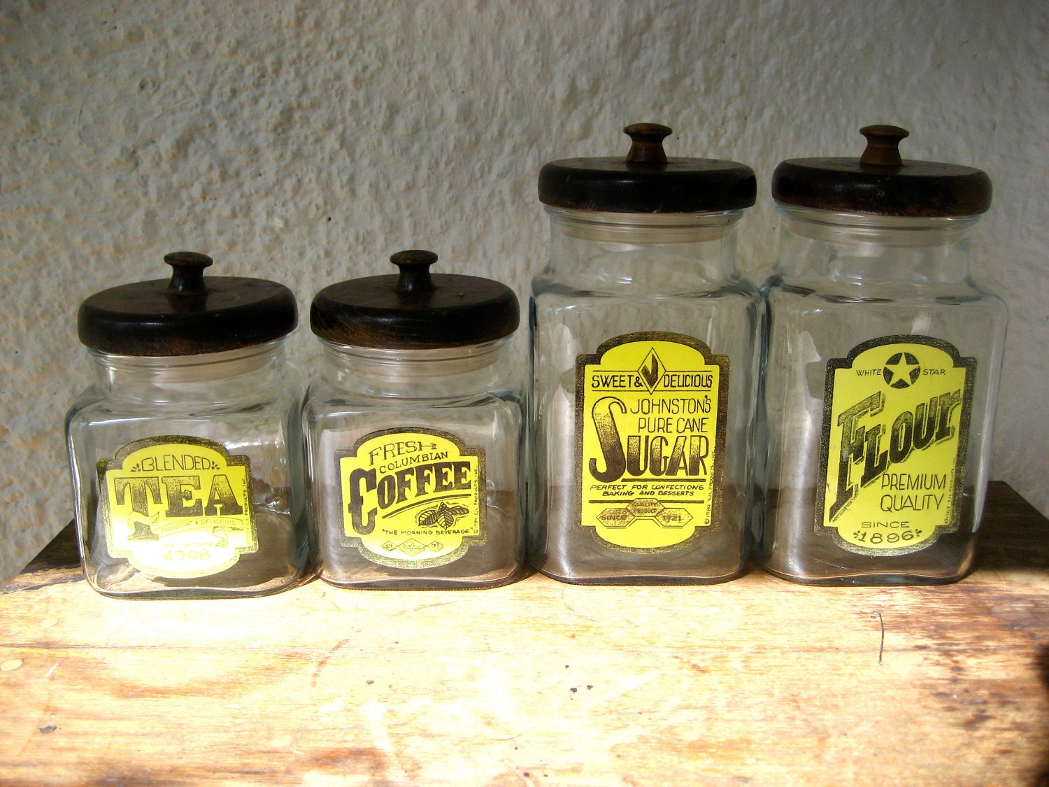 glass kitchen canisters vintage glass kitchen canister set with wooden lids 1980s