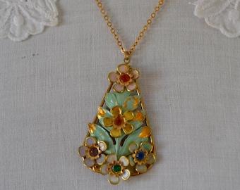 Vintage Enamel Green Flower Pendant Vintage Green Pendant Rhinestone Flower Pendant