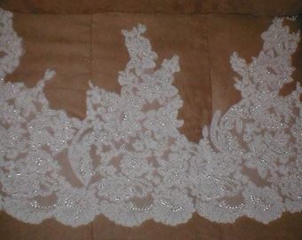 Wide French Alencon Beaded Lace Border
