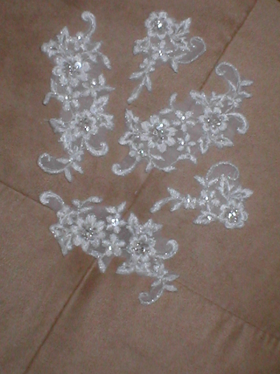 lot of 5 beaded lace appliques